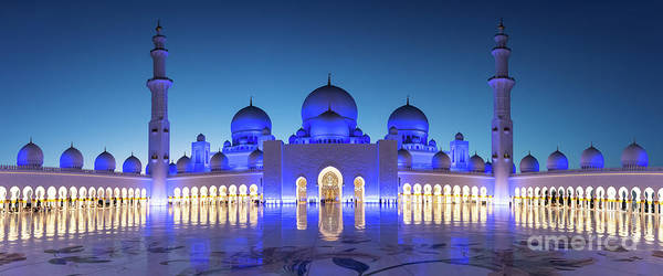 Mosque Photograph - Grand Mosque Abu Dhabi  Panorama At Night by Delphimages Photo Creations