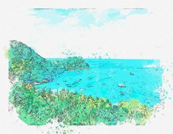 Painting - Grace Bay -  Watercolor By Ahmet Asar by Ahmet Asar