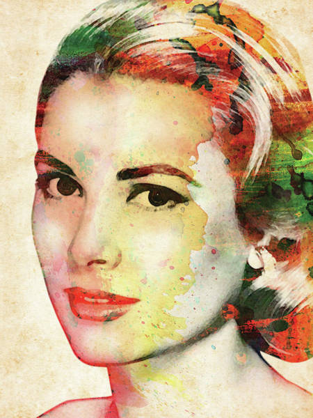 She Digital Art - Grace Kelly Watercolor by Mihaela Pater