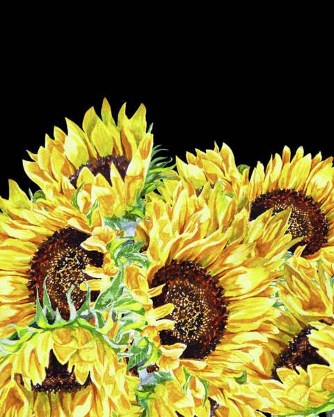 Painting - Graceful Contrast Watercolor Sunflowers by Irina Sztukowski