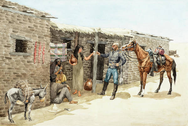 Wall Art - Painting - Gracias Senorita, May The Apaches Never Get You, 1885 by Frederic Remington