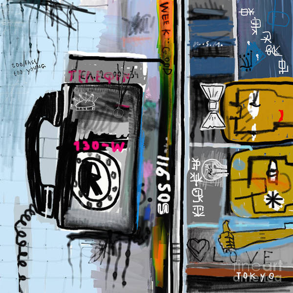Wall Art - Digital Art - Graffiti With Telephone by Dmitriip