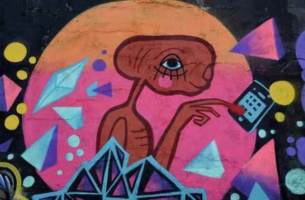 Wall Art - Photograph - Graffito Of Extraterrestrial Mural Painting Lisbon Portugal by imageBROKER - Fabian von Poser