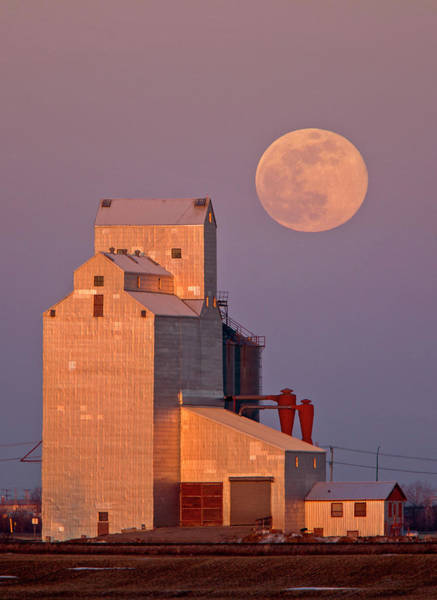Wall Art - Photograph - Grain Elevator Full Moon by Mark Duffy