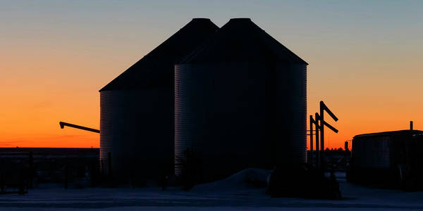 Photograph - Grain Silos At Dusk 01 by Rob Graham