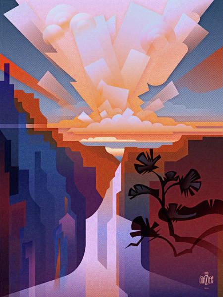 Arizona Digital Art - Grand Canyon Cloudburst 1 by Garth Glazier