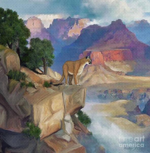 Puma Digital Art - Grand Canyon Mountain Lion by Walter Colvin