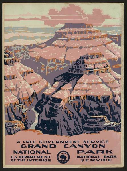 Wall Art - Painting - Grand Canyon National Park, A Free Government Service by Celestial Images