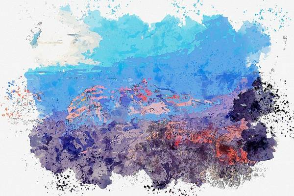 Painting - Grand Canyon National Park, United States Watercolor By Ahmet Asar by Celestial Images