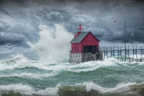 Photograph - Grand Haven Lighthouse On Lake Michigan In A November Storm by Randall Nyhof