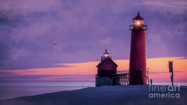Wall Art - Photograph - Grand Haven Lighthouses, Michigan by Liesl Walsh