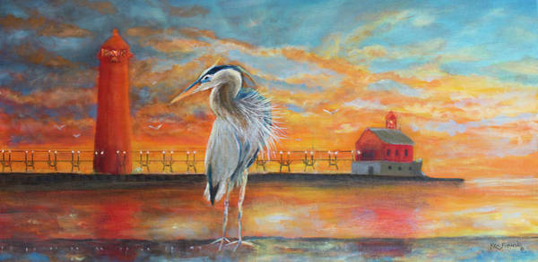Wall Art - Painting - Grand Haven State Park Painting by Ken Figurski