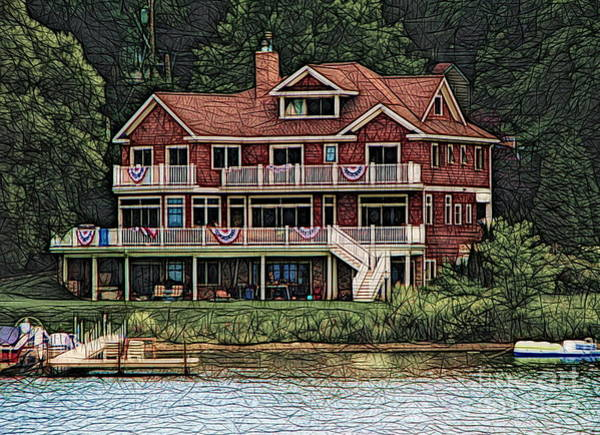 Photograph - Grand House On Chautauqua Lake Ny Abstract Colored Sketch Effect by Rose Santuci-Sofranko