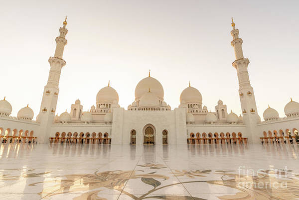 Mosque Photograph - Grand Mosque In Abu Dhabi At Sunset by Delphimages Photo Creations