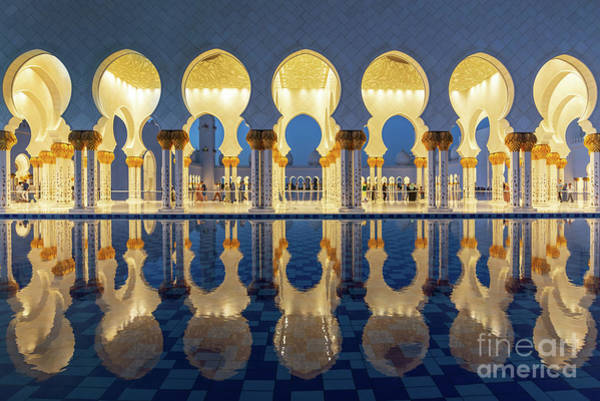 Mosque Photograph - Grand Mosque Reflections by Delphimages Photo Creations