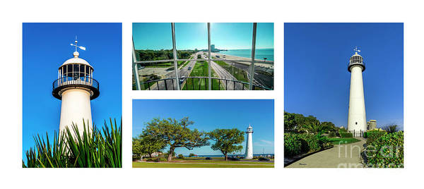 Photograph - Grand Old Lighthouse Biloxi Ms Collage A1a by Ricardos Creations