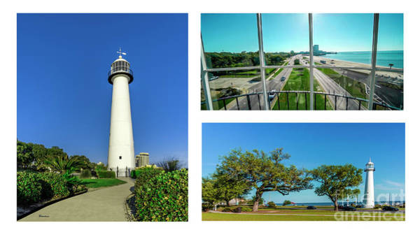Photograph - Grand Old Lighthouse Biloxi Ms Collage A1d by Ricardos Creations