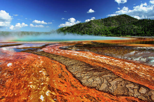 Photograph - Grand Prismatic Spring And Mountain by Noppawat Tom Charoensinphon