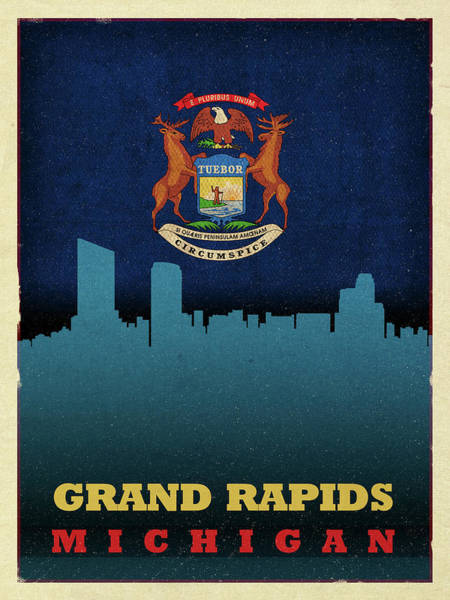 Wall Art - Photograph - Grand Rapids City Skyline State Flag Of Michigan by Design Turnpike