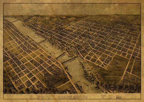 Wall Art - Mixed Media - Grand Rapids Michigan Vintage City Street Map 1868 by Design Turnpike