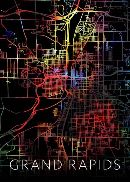 Wall Art - Mixed Media - Grand Rapids Michigan Watercolor City Street Map Dark Mode by Design Turnpike