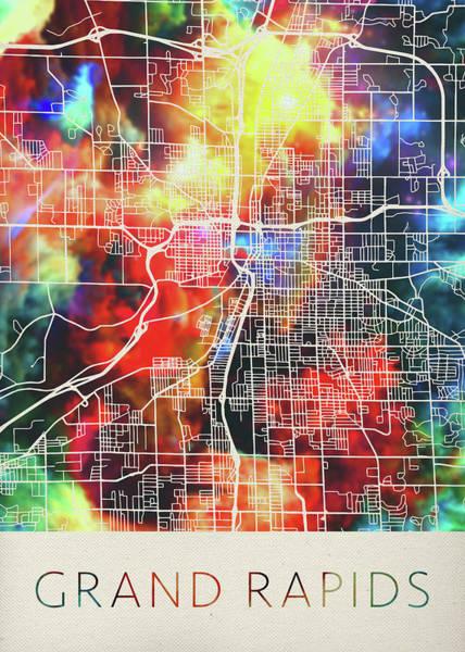 Wall Art - Mixed Media - Grand Rapids Michigan Watercolor City Street Map by Design Turnpike