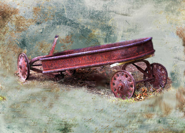 Wagon Wheel Digital Art - Granddadddy's Little Red Wagon by Linda Cox