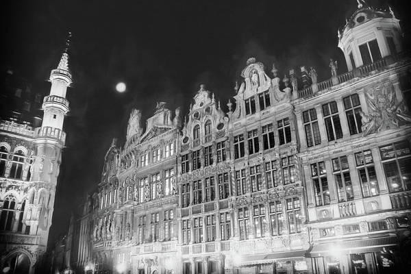 After Dark Photograph - Grandeur Of The Grand Place Brussels By Night Black And White by Carol Japp