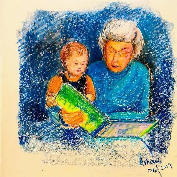 Wall Art - Drawing - Grandmother And Baby by Asha Sudhaker Shenoy