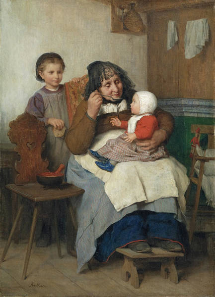 Painting - Grandmother Spooning The Soup To Her Grandchild by Albert Anker