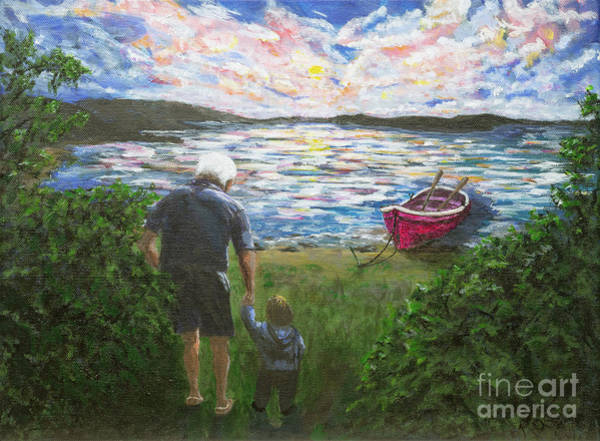 Wall Art - Painting - Grandpa And His Grandson Are In Search Of A Big Adventure by Rosie Kuhn