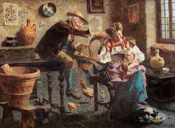 She Painting - Grandpa by Eugenio Zampighi