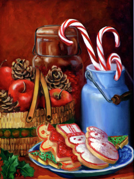 Candy Apples Wall Art - Painting - Grandpa's Old Time Christmas by Laurie Snow Hein