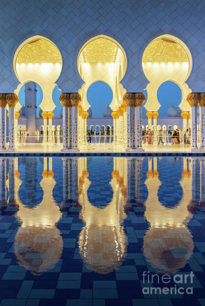 Wall Art - Photograph - Grand Mosque Reflections - Vertical by Delphimages Photo Creations