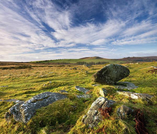 Wall Art - Photograph - Granite Boulders On Moorland Near Hound by Adam Burton