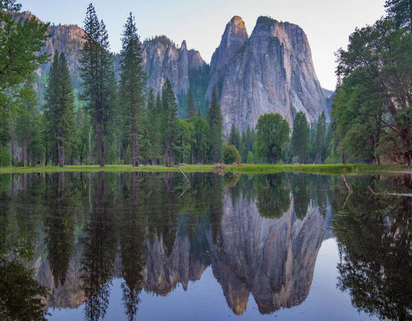 Photograph - Granite Peaks Reflected In River by