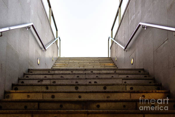 Photograph - Granite Staircase With Handrails At The Entrance Of An Underground Pedestrian Tunnel. by Joaquin Corbalan