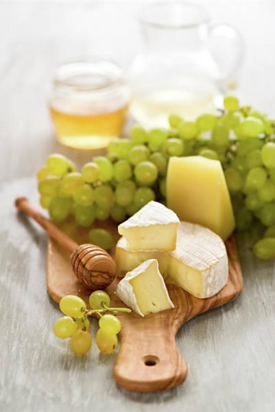 Honey Photograph - Grape, Honey And Cheese by Verdina Anna