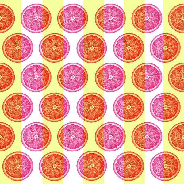 Grapefruit Slice Pattern 1 - Tropical Pattern - Tropical Print - Lemon - Orange - Fruit - Tangerine Art Print