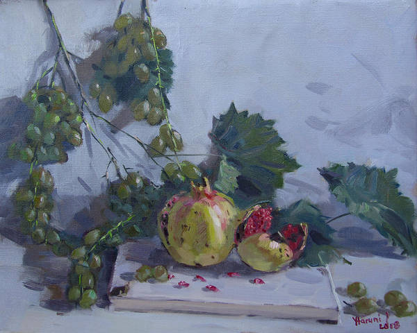 Pomegranates Painting - Grapes And Pomegranates by Ylli Haruni