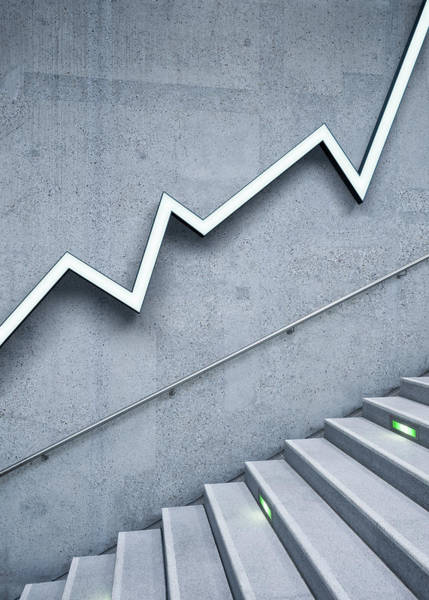 Prosperity Photograph - Graph And Stairs by Jorg Greuel