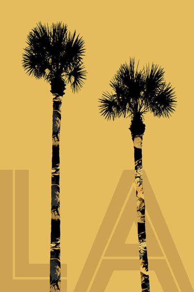 Wall Art - Mixed Media - Graphic Art Palm Trees La - Yellow by Melanie Viola