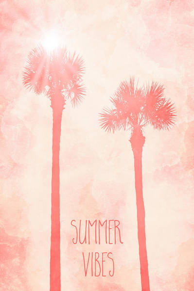 Tropics Digital Art - Graphic Art Palm Trees Summer Vibes - Living Coral  by Melanie Viola