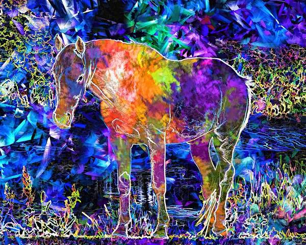 Courage Digital Art - Graphic Horse by ArtMarketJapan
