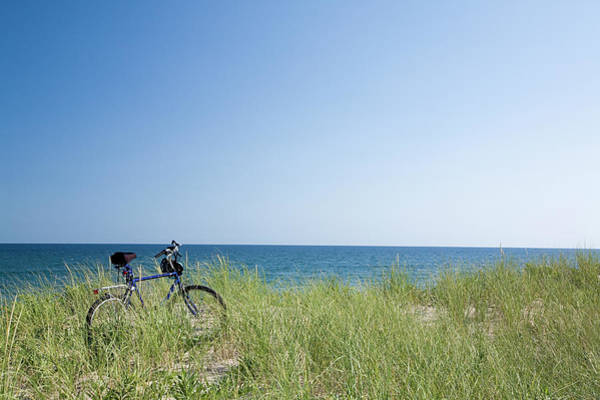 Wall Art - Photograph - Grass Covering Bicycle Parked On Beach by Alberto Coto