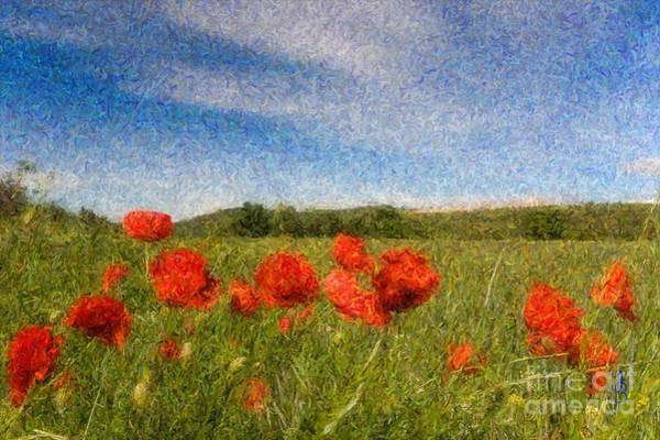 Digital Art - Grassland And Red Poppy Flowers 3 by Jean Bernard Roussilhe