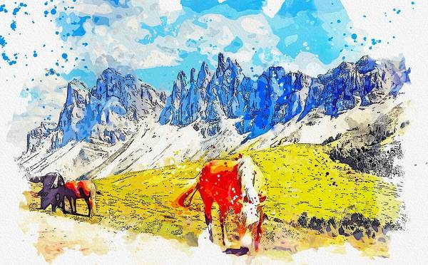 Painting - Grassland  Hayfield And Alpine Wild Horses -  Watercolor By Ahmet Asar by Celestial Images