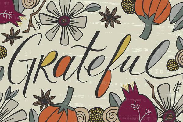Painting - Grateful Fall Art Cream Background by Jen Montgomery