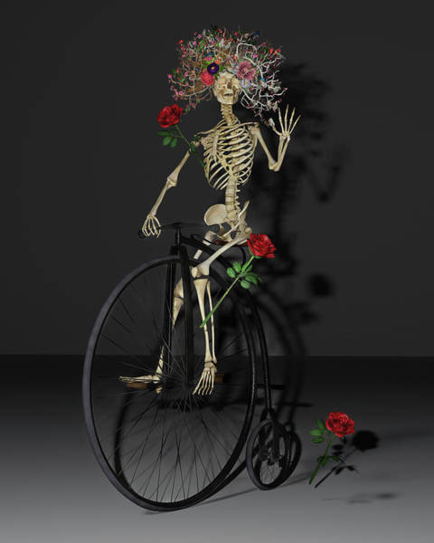 Wall Art - Digital Art - Grateful Penny Farthing Skeleton by Betsy Knapp