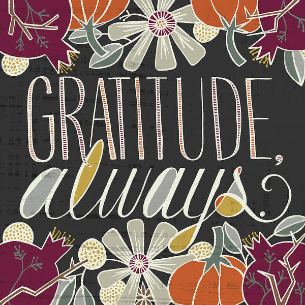 Painting - Gratitude Always Fall Art Black Background by Jen Montgomery